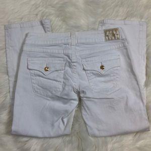 True Religion White Disco Billy Straight Leg Jean